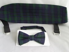 (A) TARTAN-Black/Green/Navy Cummerbund and Bow Tie Set - Watch More Patterns