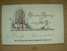 VINTAGE CHRISTMAS GIFT CARD - CHRISTMAS GREETINGS AND A HAPPY NEW YEAR