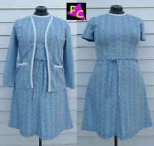 VTG 60s MOD POLYESTER dress SUIT JACKET MATCHING L 38 PAISLEY BLUE WHITE