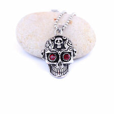 Fashion Jewelry Stainless Steel Silver Black Skull Pendant Men's Chain Necklace