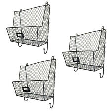 Mail Rack Wall Mount Key Letter Fruit Basket Holder Metal 3 Tier Organizer New