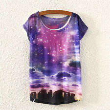 Hot Fashion Women Short Sleeve Galaxy Sky Tower Print T Shirt Blouse Tops