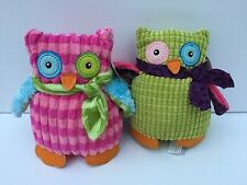 "MARY MEYER Plush Pink & Green Marys Owls Pair Lot 6"" NWT"