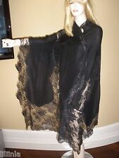 NEW $2K STUNNING VALENTINO LARGE BLACK LACE AND CASHMERE FRENCH LACE SHAWL/WRAP