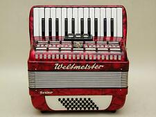 Excellent Red German Piano Accordion Weltmeister Serino 40 bass with case.