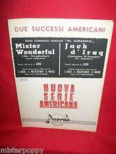 WEISS dalla Commedia Musicale Mister Wonderful + Jack d'Iraq OST Spartiti 1956