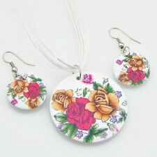 Fashion painting rose wood pendants Necklace Earrings Jewerly set XL25