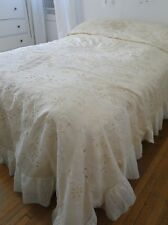 ANTIQUE LACE-C.1900,LARGE ORNATE LAWN BEDSPREAD W/FIGURALS,EMBROIDERY,RETICELLA
