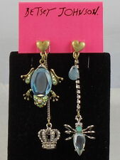 Betsey Johnson Two Tone REPTILES Frog Crown Bug Mismatch Earrings $45