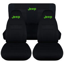Jeep wrangler YJ  Front+Rear car seat covers solid black w/Jeep,CHOOSE COLOR