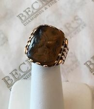 Men's Antique Deco 10k rose gold Tiger Eye Cameo Roman Solider Etched Ring sz 9
