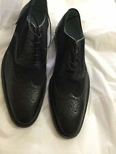 NEW Lambertson Truex Charles Calf Leather and Canvas Brogues - 10