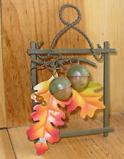 painted metal Autumn Oak Leaves and Acorns wall decoration 6.5 x 4.25""