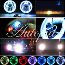 "5"" Inch Universal Motorcycle Fog Driving Lights w/ Led White Halo Angel Eye J2"