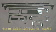 VW GOLF 3 (9/91on) CARBON FIBRE LOOK DASH KIT by INPRO GERMANY STICK ON 11pce