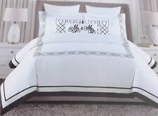 HOTEL COLLECTION BLACK AND WHITE  RIBBON FRAME KING DUVET COVER SET W / SHAMS