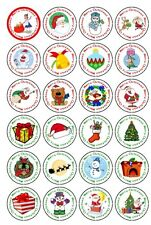 30 PRE-CUT EDIBLE WAFER CUP CAKE TOPPERS MERRY CHRISTMAS SANTA SNOWMAN XMAS GIFT