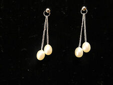 Sterling Silver White FW Pearl Double Dangle Earrings Pierced