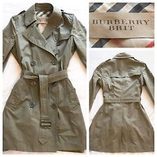 BURBERRY TRENCH CLASSICO KHAKI Mac Impermeabile Giacca UK 12 | BURBERRY BRIT