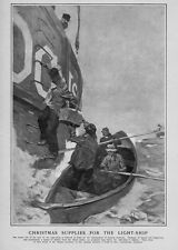 CHRISTMAS SUPPLIES FOR THE LONELY MEN WORKING THE LIGHTSHIP ROWING OARS NAUTICAL