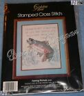 Golden Bee FISHING PICTURE Stamped Cross Stitch Sampler Kit – 1986