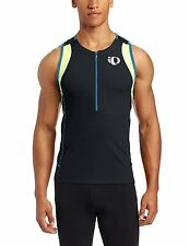 PEARL Izumi MENS Elite INRCOOL Triathlon SINGLET Size SZ Blue BLACK Neon 1/2 ZIP