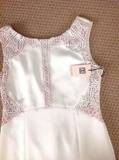 NWT SIZE 14 DRESS BY IVANKA TRUMP, EGGSHELL.  TAUPE LACE BODICE, SHEATH STYLE