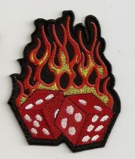 """FLAMING DICE"" EMBROIDERED PATCH - MOTORCYCLE BIKER ROCKABILLY TATTOO HOG PUNK"