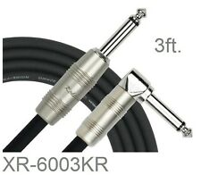 """3ft. Kirlin 1/4"""" Mono Straight/Right-Angle Male/Male Instrument Cable, OFC 20AWG"""