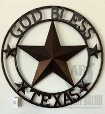 "Lone Star GOD BLESS TEXAS 24"" Metal Sign In Circle Wall Hanging Western Country"
