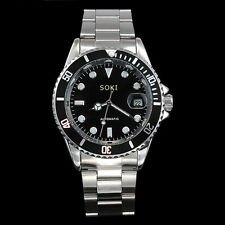 New SOKI Black Self Winding Analog Automatic Date Mens Mechanical Band Watch W86