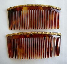 ANCIEN 2 Peigne ecaille or Chambin Victorian Tortoishell Gold comb Kamm ANTIQUE