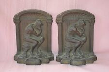 """ANTIQUE FINE PAIR OF CAST IRON BOOKENDS """"THE THINKER"""" AFTER RODIN GREAT COND"""