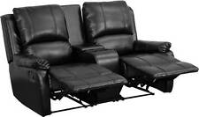BLACK LEATHER PILLOWTOP 2-SEAT HOME THEATER RECLINER WITH STORAGE CONSOLE