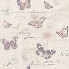 Butterfly Collage Wallpaper Paris Oyster Amethyst Holden Decor
