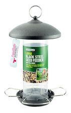 Gardman Large Black Steel Seed Feeder Easy Fill Easy Clean Metal Feeder A01513