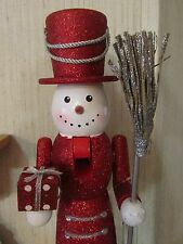 Snowman Nutcracker Frosty Christmas RED SILVER  Top Hat Snow Flake Sequins