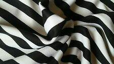 """Ponte De Roma with black & white printed stripes,58""""/60"""" width, by the yard"""