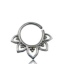 """18G TINY 1/4"""" (6MM) RING LOTUS STERLING SILVER HANGING TRAGUS NOSE HELIX EARRING"""
