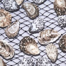 Maine Attractions Oyster Bay Pearl Shells Fishing Nets Cotton Fabric Fat Quarter