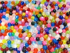 200 Mixed Color Acrylic Cats eye Round Beads 8mm Beads Finding