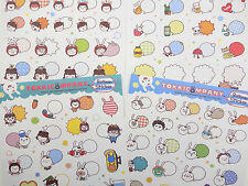 FOUR pages Korean caption bubble stickers! Emoticon face - cats, bunnies, & more