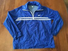 Vintage 1980's Asics Tiger Blue White Hooded Windbreaker Nylon Jacket Size Large