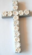 Silver Wood Decorative Cross Crucifix Jesus w/ White Daisies Wall Hanging