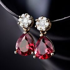 18k Yellow Gold Filled Pear Cut Red Ruby Womens Wedding Dangle Stud Earrings