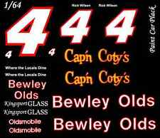 #4 Rick Wilson Bewley Olds 1986 1/64th HO Scale Slot Car Waterslide Decals • Cu