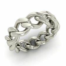 Men's Chain Link Band / Ring In Solid 14k White Gold- 6 mm Band Free Shipping