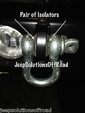 "D-Ring Shackle Isolator Jeep Towing Off Road Kit 3/4"" Pair SILENCER Clevis"
