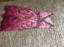 Ladies pink summer cotton dress with floral design by Goose Island size S/10