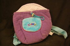 "WEBKINZ GIRLS PURPLE BLUE CORDUROY BACKPACK  PURSE 9"" Plush Stuffed Animal Lovey"